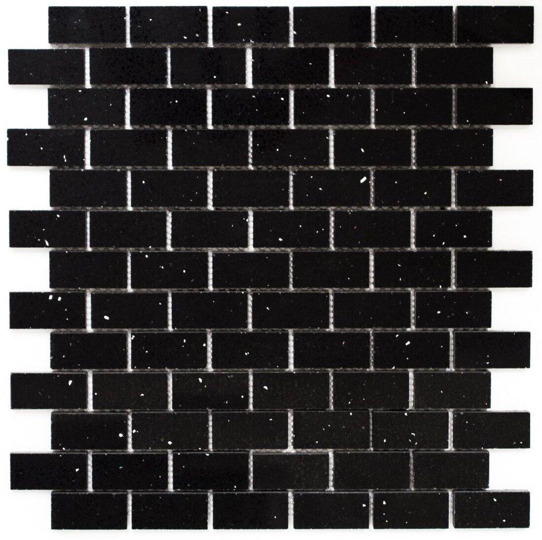 Mosaïque carreau quartz pierre artificielle brique schwarz 46-0304_f   10 plaques