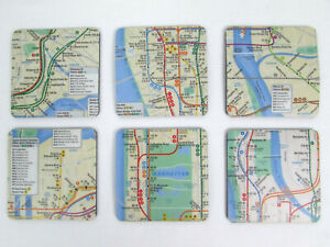 Lot Of 6 Official Mta Manhattan Subway Route Map Coasters New York