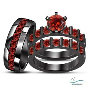 Image Is Loading His Her Bridal Engagement Ring Trio Set Red