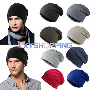 Warm-Cotton-Jersey-Slouch-Beanie-Soft-Cap-Skateboard-Winter-Hat-Men-Women