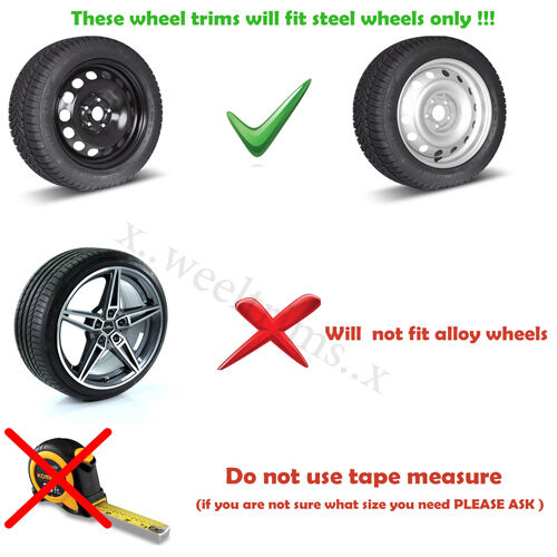"""Set of  4x 15/"""" wheel trims to fit  Nissan Micra,Note,Almera"""
