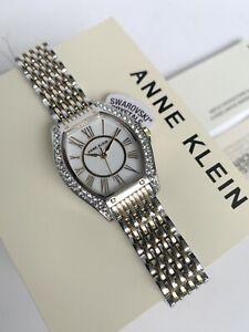 Anne Klein Watch * 3773MPTT Swarovski Mother of Pearl 2 Tone Gold & Silver Steel