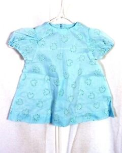 vtg-1950s-50s-Sheer-Blue-White-Raised-Swiss-Dot-Dress-Smocked-toddler-Heart-baby