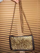 """URBAN OUTFITTERS """"DEENA & OZZY"""" BLACK BAG WITH GOLD COILS DESIGN & CHAIN STRAP"""