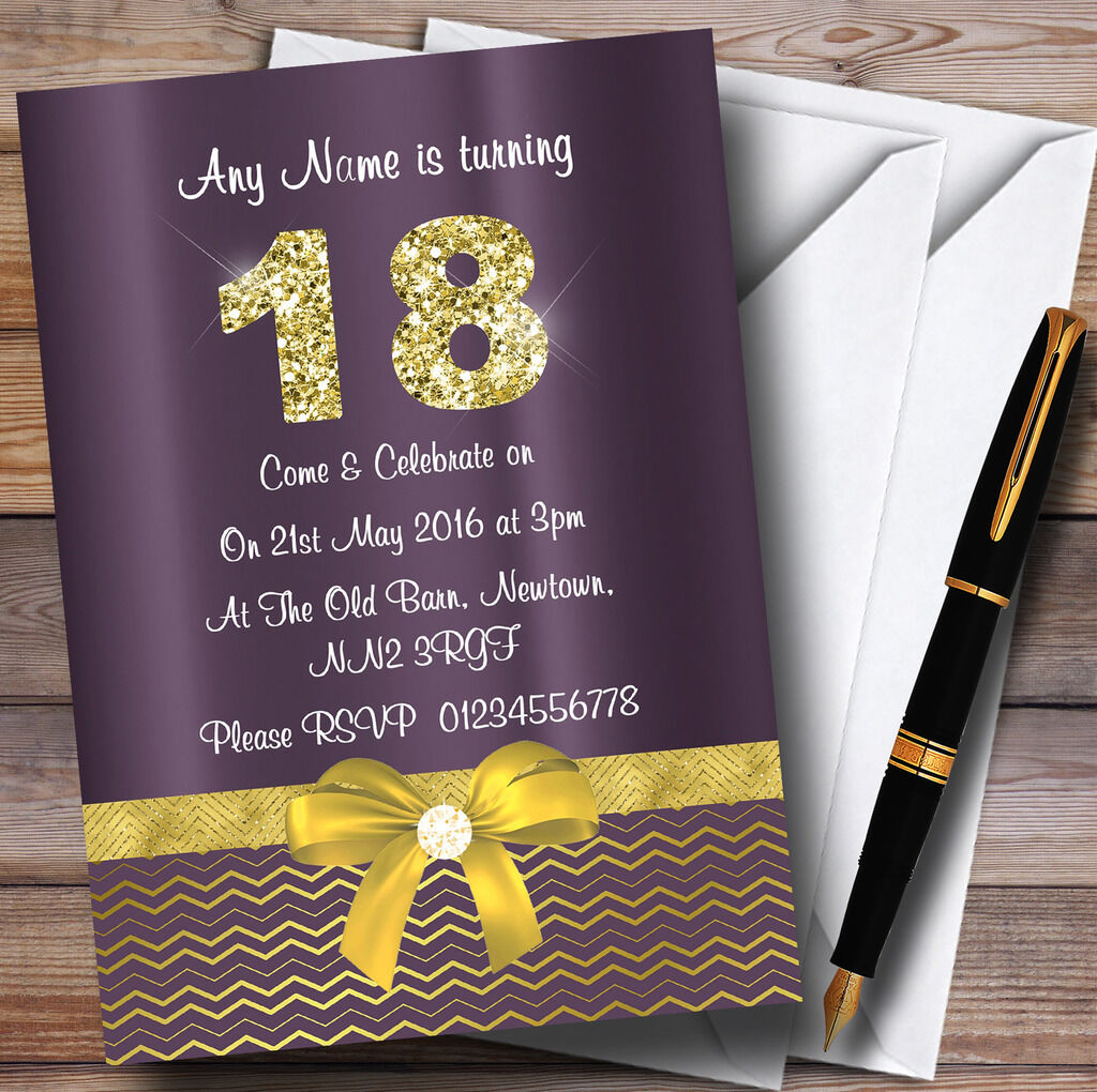 lila Satin And Gold Bow 18Th Personalised Birthday Party Invitations