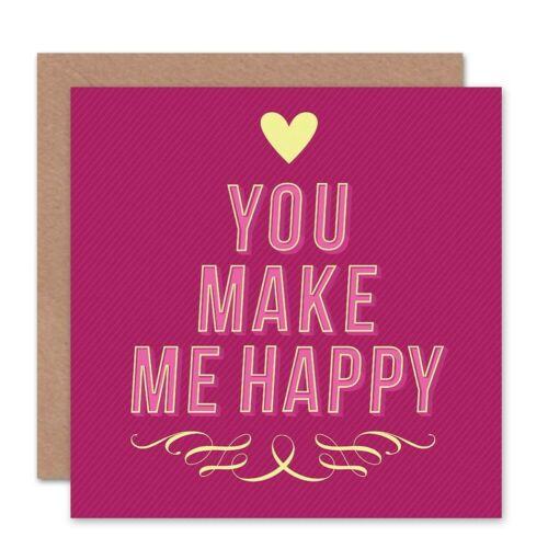 Details about  /You Make Me Happy Love Heart Pink Blank Greeting Card With Envelope