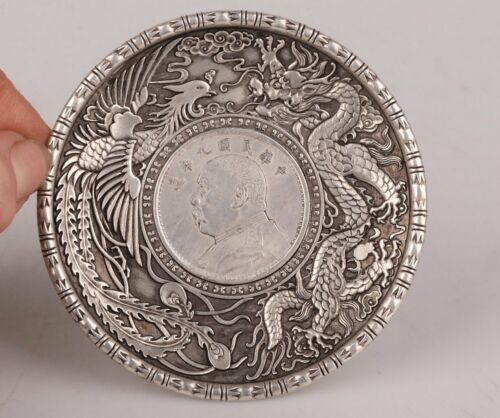 Chinese Vintage Handmade Carving Dragon Phoenix Plate Silver Copper Collection
