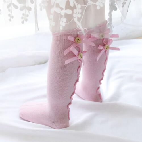 Toddler Infant Girls Cotton Knee High Long Socks Kids  Bow Stockings Hosiery