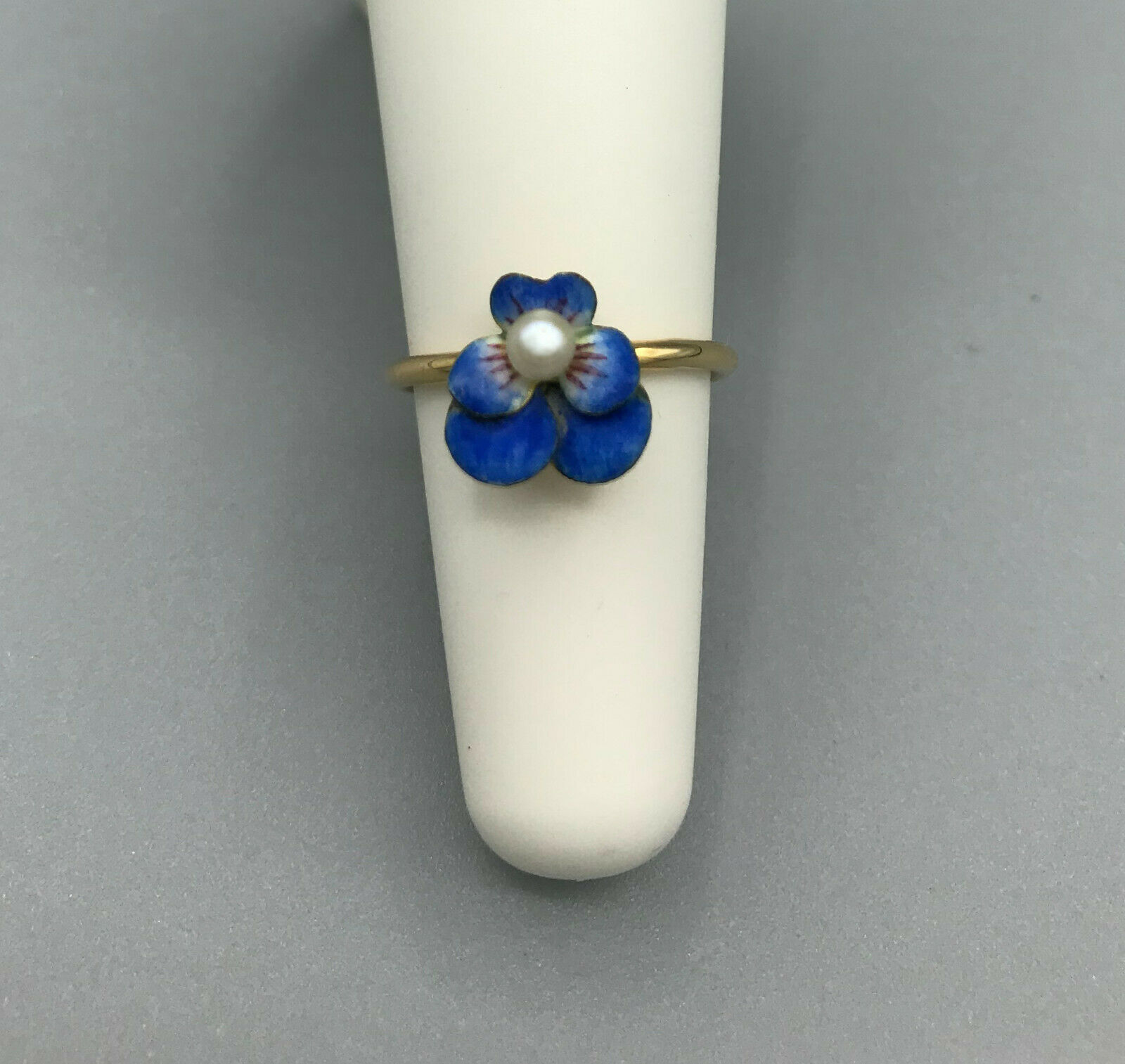 Victorian Pansy enamel ring 14kt pin conversion a… - image 3