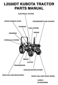 Kubota L Series L2550dt Tractor Parts Manual All Product Index Digital Pdf Ebay