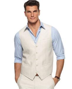 Mens Vest Linen Dress Pants Custom Made Linen Waistcoat For Men