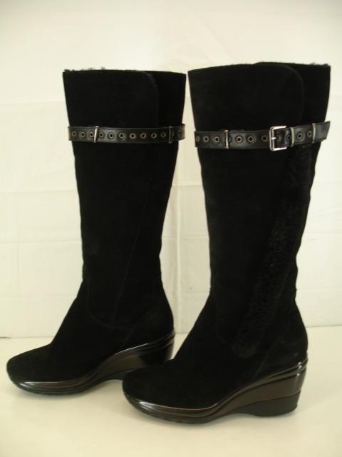 Womens 11 M Aquatalia Black Sheepskin Skearling Fur Knee High Wedge Boots Winter