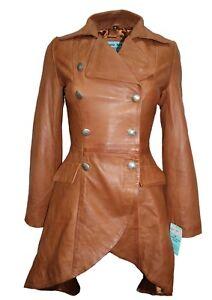 Veste pour décontracté style femme gothique nappa véritable trench en cuir pqrpxSZwa