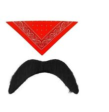 Mens Red Cowboy Fancy Dress Wild West Bandana Scarf Neck Tie With Tash Cow Boy