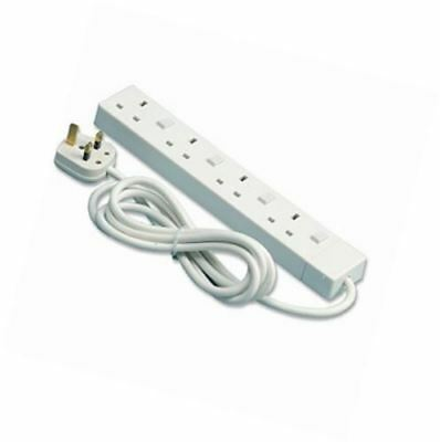 Switched 13AMP 1.25mm Cable PIFCO 4 Gang Plug Sockets 2 Meter Extension Lead