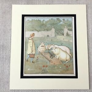 1885 Aufdruck Viktorianisches Kinder Geschichte Buch Kunstwerk Bauer Jungen Pigs