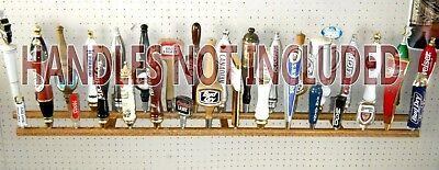 WALL MOUNT 5 PLACE BEER TAP HANDLE DISPLAY SOLID OAK