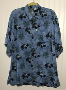 822e2a9d23 PINEAPPLE MOON Men s Hawiian Woody Wagon Floral Rayon Button Front ...