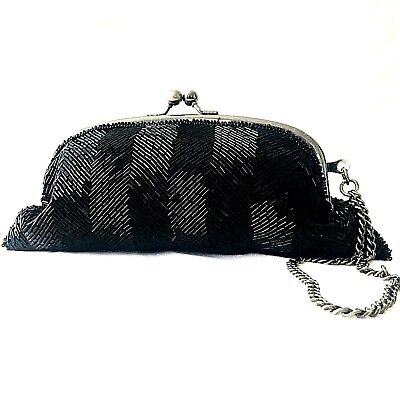 New Pewter Clutch Evening Bag Purse with Kiss Lock Closure