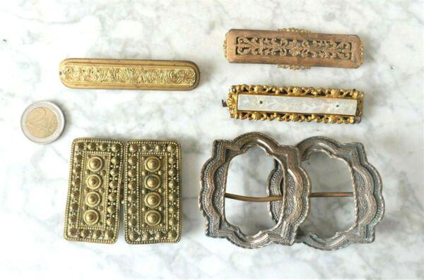 3 Boucles De Ceinture Et 1 Broche En Metal Dore