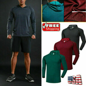 Men-039-s-Long-Sleeve-Shirts-Hooded-Muscle-Tops-Hoodie-Casual-Fashion-Gyms-T-Shirt