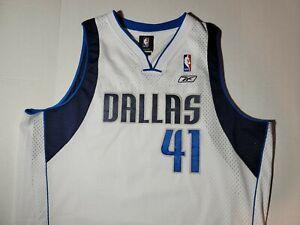 Reebok Authentic Dallas Mavericks Dirk Nowitzki 41 Jersey Men XL Sewn