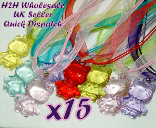 15 Hello Kitty Necklaces on Voile Organza Ribbon~Party Bags~Childrens Jewellery