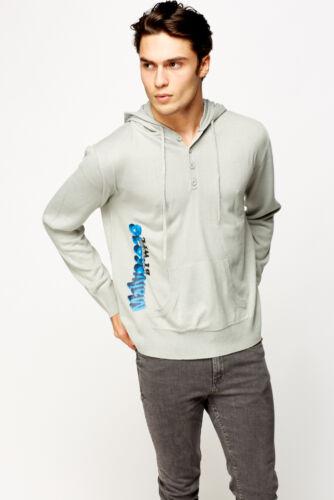 Mens Logo Print Hooded Jumper Button Plain Cardigan Knitwear Tops WFL