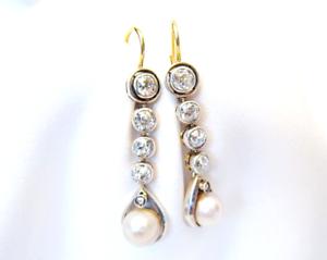 Antique-Art-Deco-2-69-Ctw-Round-Diamond-amp-Pearl-Dangle-14K-Gold-Over-Earrings