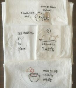 NEW! Funny Kitchen/Bar Towels - Set of 4 Embroidered Flour ...