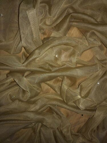 """1 MTR GOLD TULLE SOFT STUDDED BRIDAL//DECORATION NET FABRIC..40/"""" WIDE £1.99"""