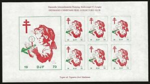 Denmark-DJF-1973-Local-Xmas-TB-Seal-IMPERF-Sheet-VF-NH-Minor-adhesions