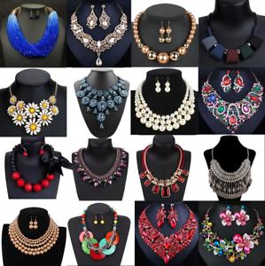 Fashion-Women-Crystal-Necklace-Bib-Choker-Pendant-Statement-Chunky-Charm-Jewelry