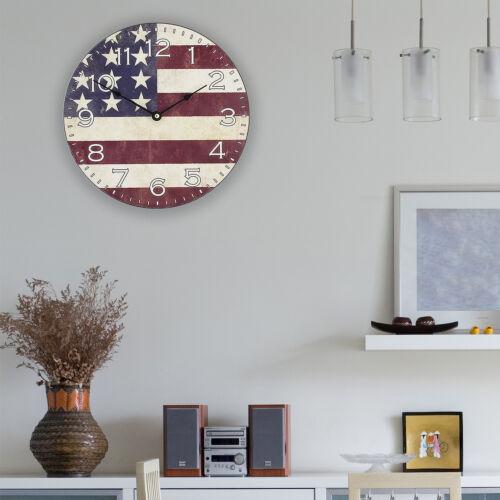 "404-2631F La Crosse Clock Company 12/"" Round Flag Analog Wall Clock"