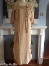 LAUREN VIDEL DRESS AND JACKET STONE LAGENLOOK LINEN UK 14