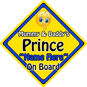 Baby Safety & Health Non Personalised Child/baby On Board Car Sign ~ Mummys Prince On Board ~ Brown