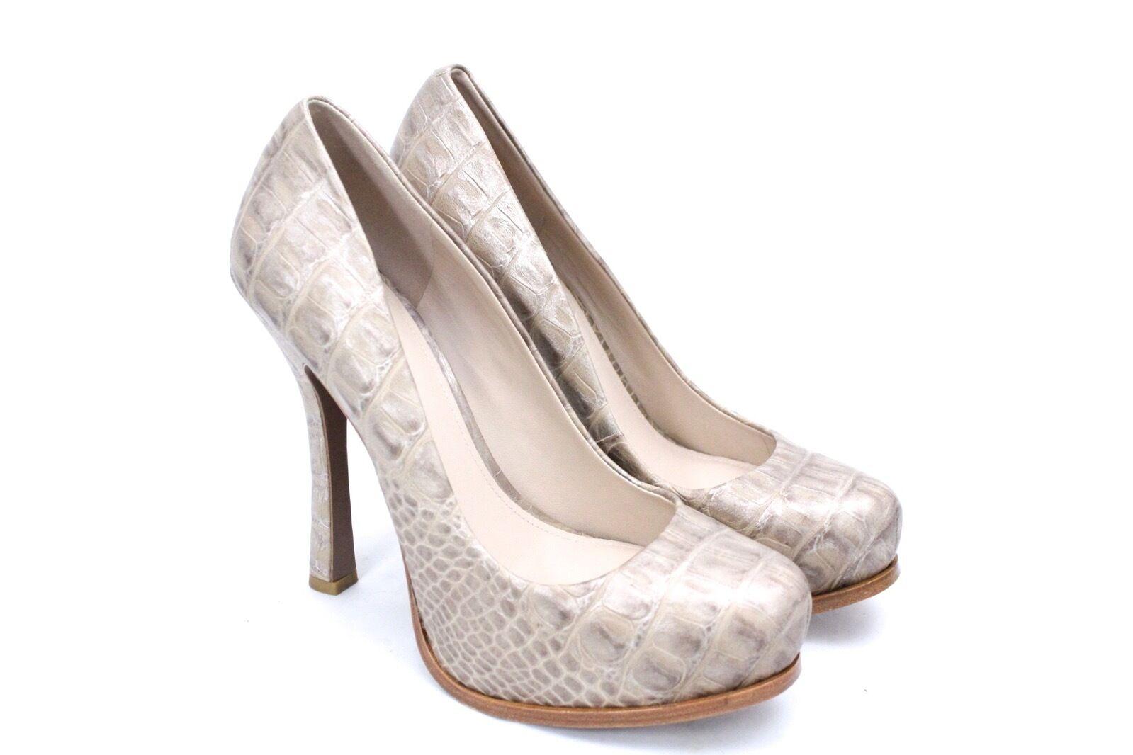 Joan & David Guzman Nude Taupe Croco Embossed Platform Stiletto Heels 10M