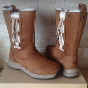 Ugg Suvi Waterproof Chestnut Leather Fur Winter Snow Boots