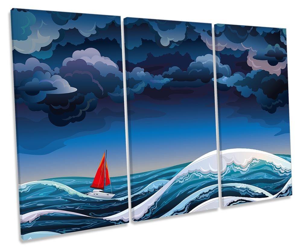 Sail Boat Yacht Blau Waves Framed TREBLE CANVAS Drucken Wand Kunst