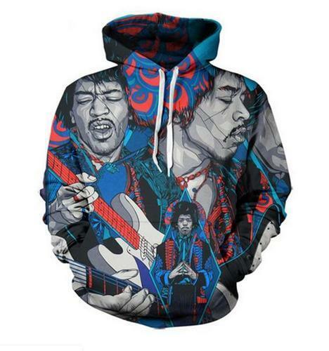Women//Mens 3D Print Casual Hoodie Sweatshirt Pullover Jimi Hendrix Sublimation
