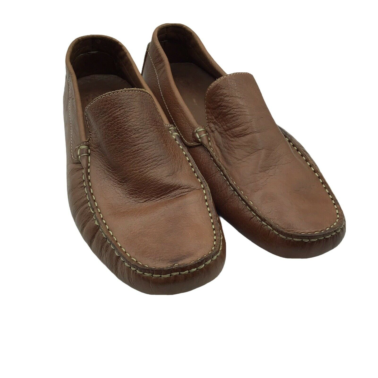 Saks Fifth Avenue Size 10M Driving Loafer Shoes Tan Leather Moc Toe Slip-Ons