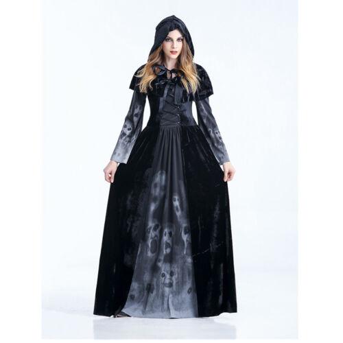 Womens Halloween Horror Gothic Black Medieval Reaper of Souls Costume