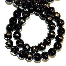 "G1524L Black Opaque 8mm Round Silver Metallic Drawbench Swirl Glass Beads 32"""