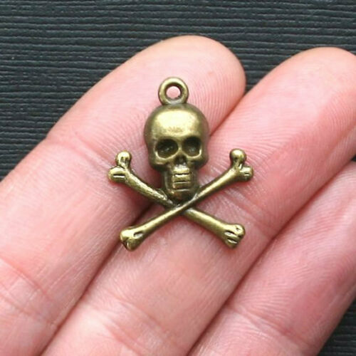 BC858 10 Skull and Crossbones Charms Antique Bronze Tone