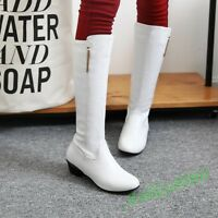 New Womens Knee High Riding Boots Ladies Casaul Low heel Pull On Shoes Plus Size