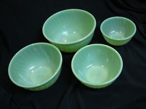 "Set of 4 Fire King Jadite Glass Swirl Nesting Mixing Bowls Jadeite 6,7,8,9"""