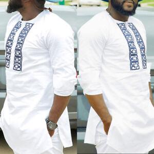 Africano-dashiki-Hombre-Estampado-Blanco-Tribal-Camisa-succinct-Hippy-BLUSA-TOP