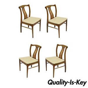 Astounding Details About 4 Vintage Mid Century Modern Curved Back Sculpted Walnut Dining Chairs Machost Co Dining Chair Design Ideas Machostcouk