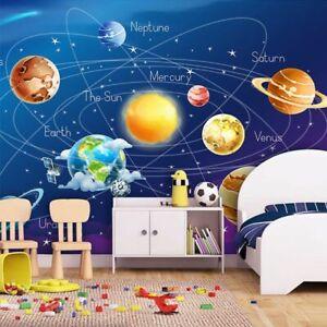 Ninos-Dormitorio-Papel-Pintado-3d-Sistema-Solar-Pared-Mural-Decoracion-de-la-sala-de-estar-cubierta