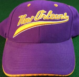 Hard-Rock-Cafe-NEW-ORLEANS-Purple-Baseball-HAT-CAP-with-Gold-Trim-Jazz-Colors